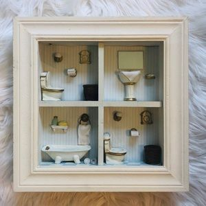 Country adorable bathroom shadow box picture